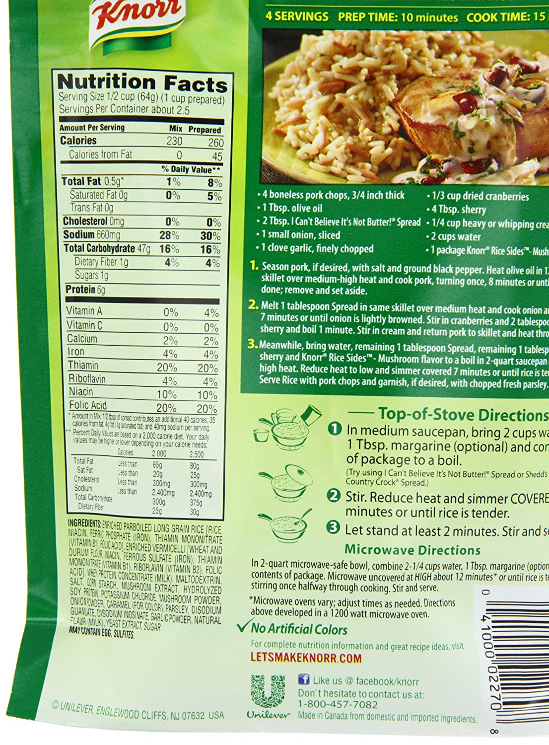 Rice A Roni Cheddar Broccoli Nutrition Facts