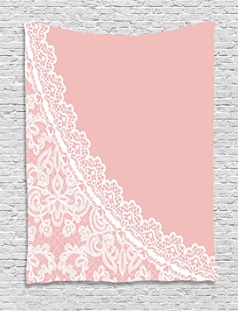 Amazon.com: Pink and White Tapestry by Ambesonne, Lace Old Fashioned ...