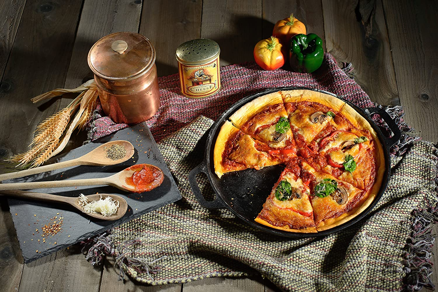 14-inch Cast Iron Pizza Pan Pre-Seasoned Crispy Crust Round Oven Griddle with Handles for Grilling Baking BBQ