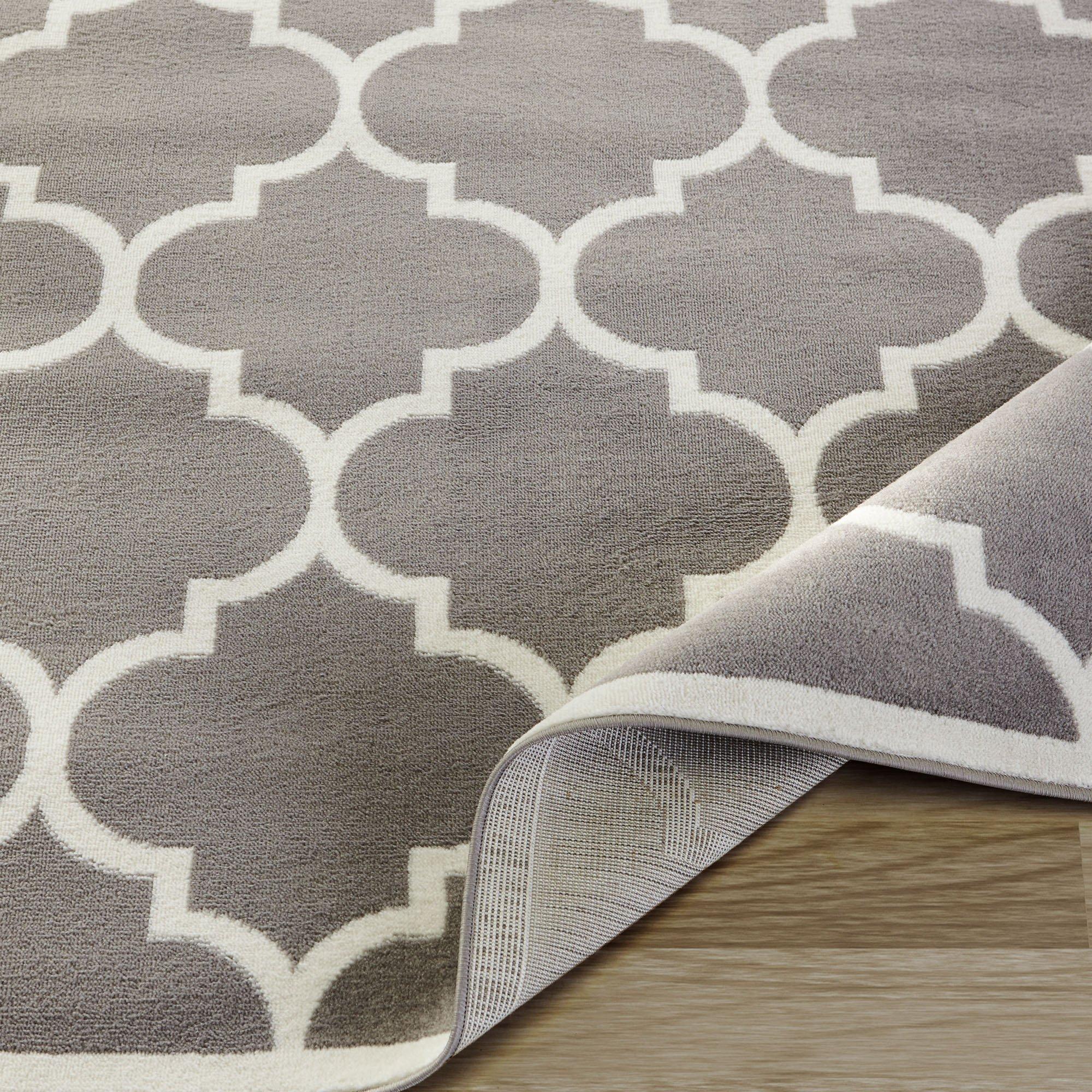 Ottomanson Paterson Collection Grey Contemporary Moroccan Trellis Design Lattice Area Rug