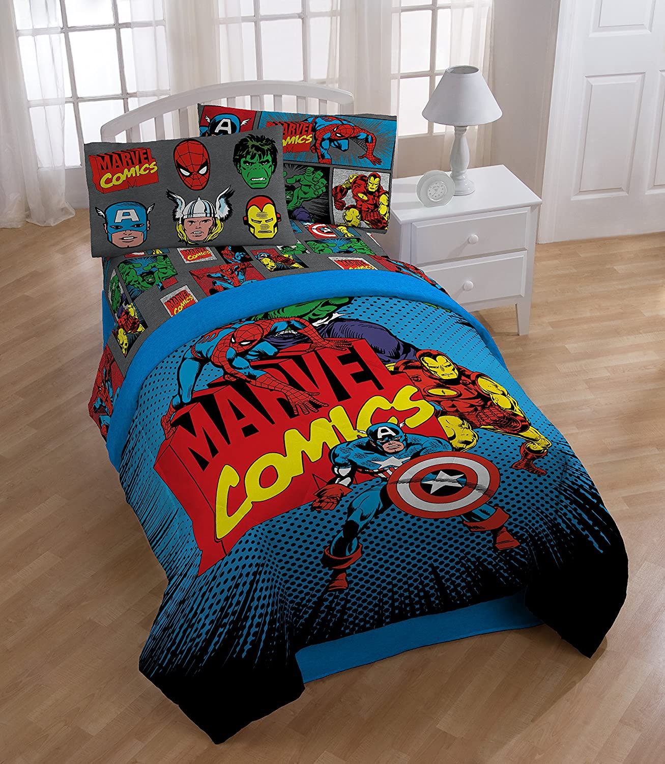 Avengers bedding - Amazon Com Marvel Superheroes Microfiber 3 Piece Twin Sheet Set Home Kitchen