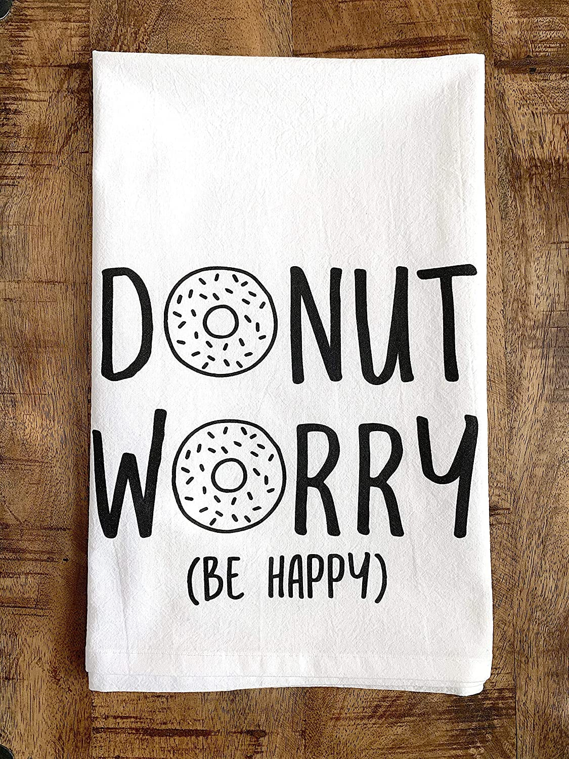 Funny Kitchen Towel Donut Worry Be Happy Dish Cloth Hand Towel Gift for Hostess Housewarming