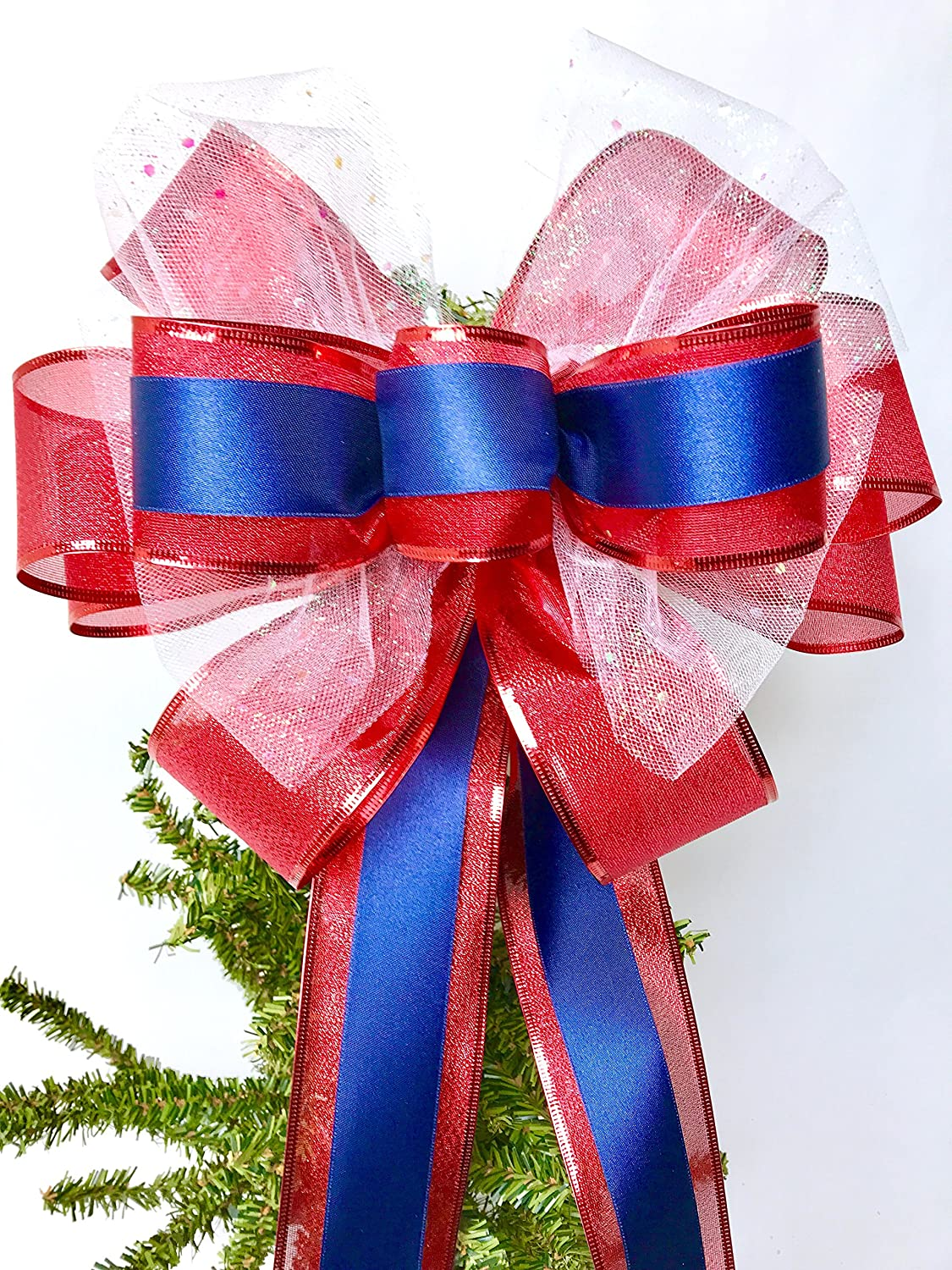 Wreath Bow, Red White Blue Handmade Large Gift Bow, Office Decorating, Wreath Bows, Holiday Bow, Home Decor, Swag Bow, Door Decor - Handmade Bow