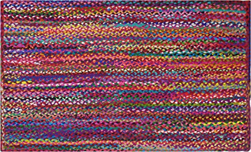 Cotton Craft – 4×6 Feet Rectangular Rag Rug – Multi Chindi Braid Rug, Hand Woven Reversible – Handwoven from Multi-Color Vibrant Fabric Rags