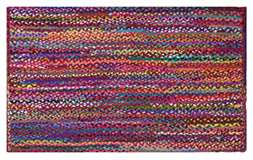 COTTON CRAFT – 5×8 Feet Rectangular Rag Rug – Multi Chindi Braid Rug, Hand Woven Reversible – Handwoven from Multi-Color Vibrant Fabric Rags