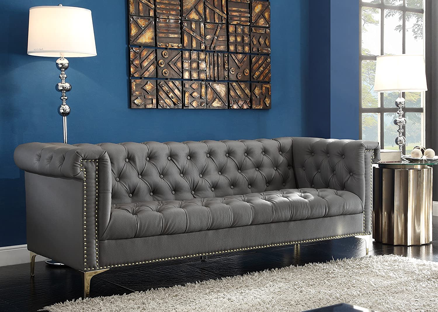 Iconic Home Winston Modern Tufted Gold Nail Head Trim Grey PU Leather Sofa with Gold Tone Metal Y-Legs