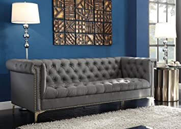 Astounding Amazon Com Iconic Home Winston Modern Tufted Gold Nail Head Interior Design Ideas Gentotthenellocom