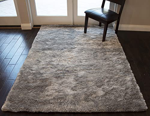 5×7 Feet Silver Light Gray Light Grey Color Solid Plush Pile Shag Shaggy Fuzzy Furry Modern Contemporary Decorative Designer Area Rug Carpet Rug