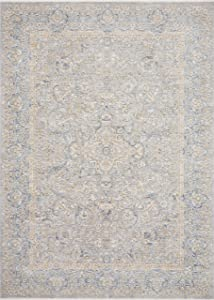 """Loloi Pandora Collection Distressed Persian Vintage Area Rug, 2'6"""" x 12'0"""" Runner, Stone/Gold"""