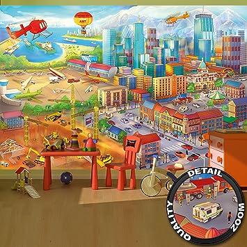 Fototapete Kinderzimmer comic style - Wandbild Dekoration Wimmelbild ...