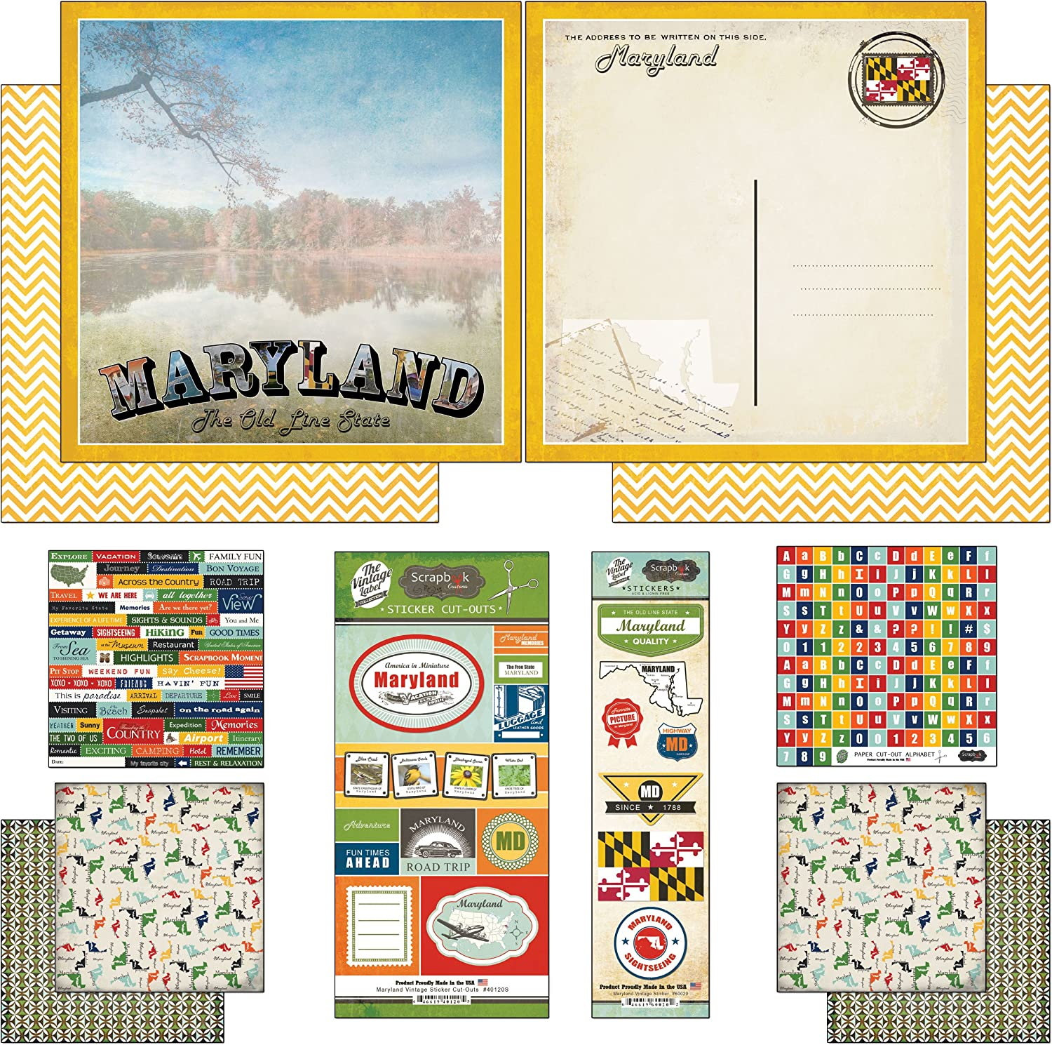 Cardstock Stickers Patchwork Scrapbook Customs United States Collection Virginia