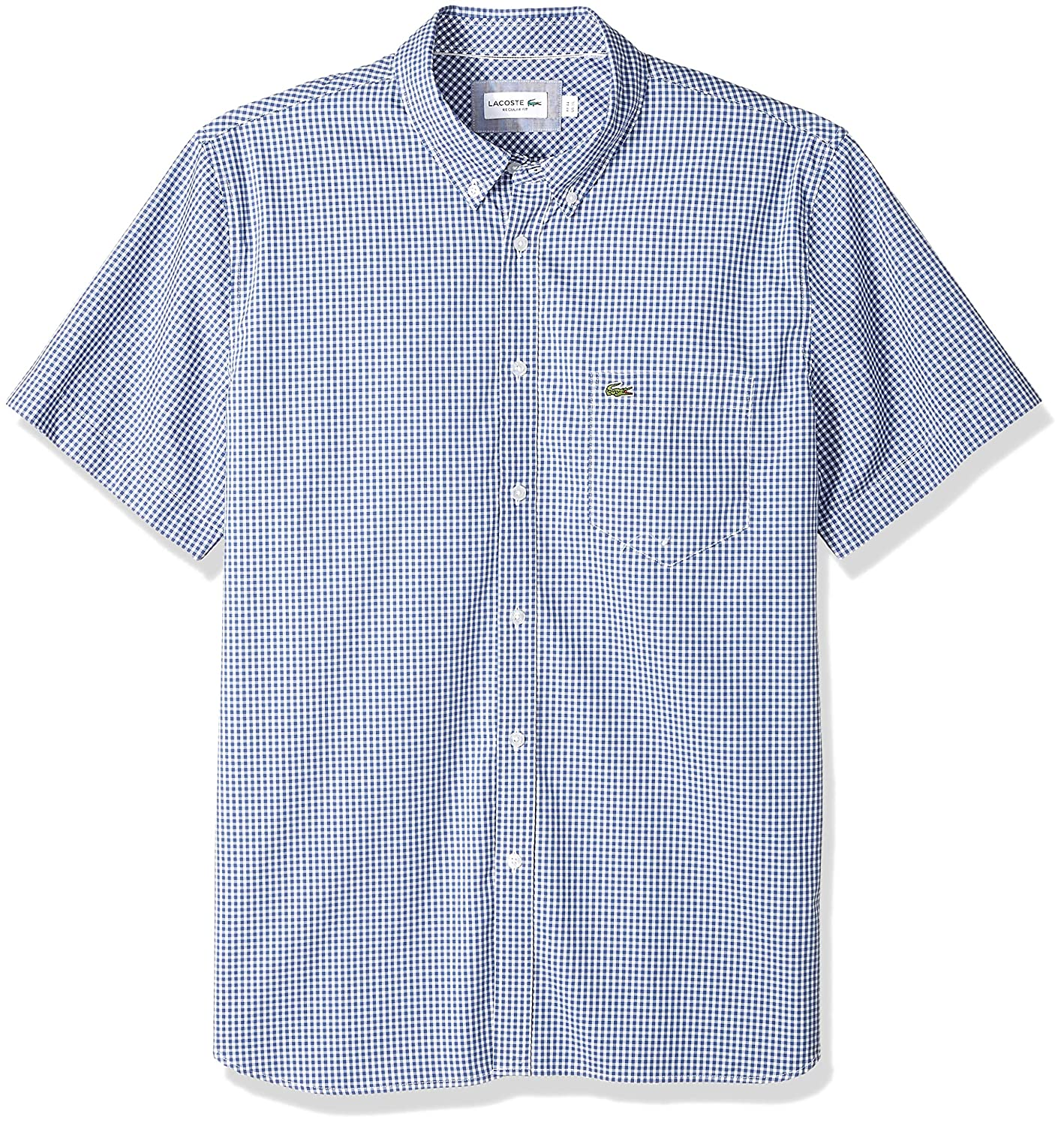 fd45f0f12 Lacoste Men s Short Sleeve Reg Fit Gingham Poplin Button Down at Amazon  Men s Clothing store
