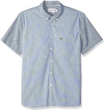 de65aecc78aa24 Lacoste Men s Short Sleeve Reg Fit Gingham Poplin Button Down at Amazon  Men s Clothing store