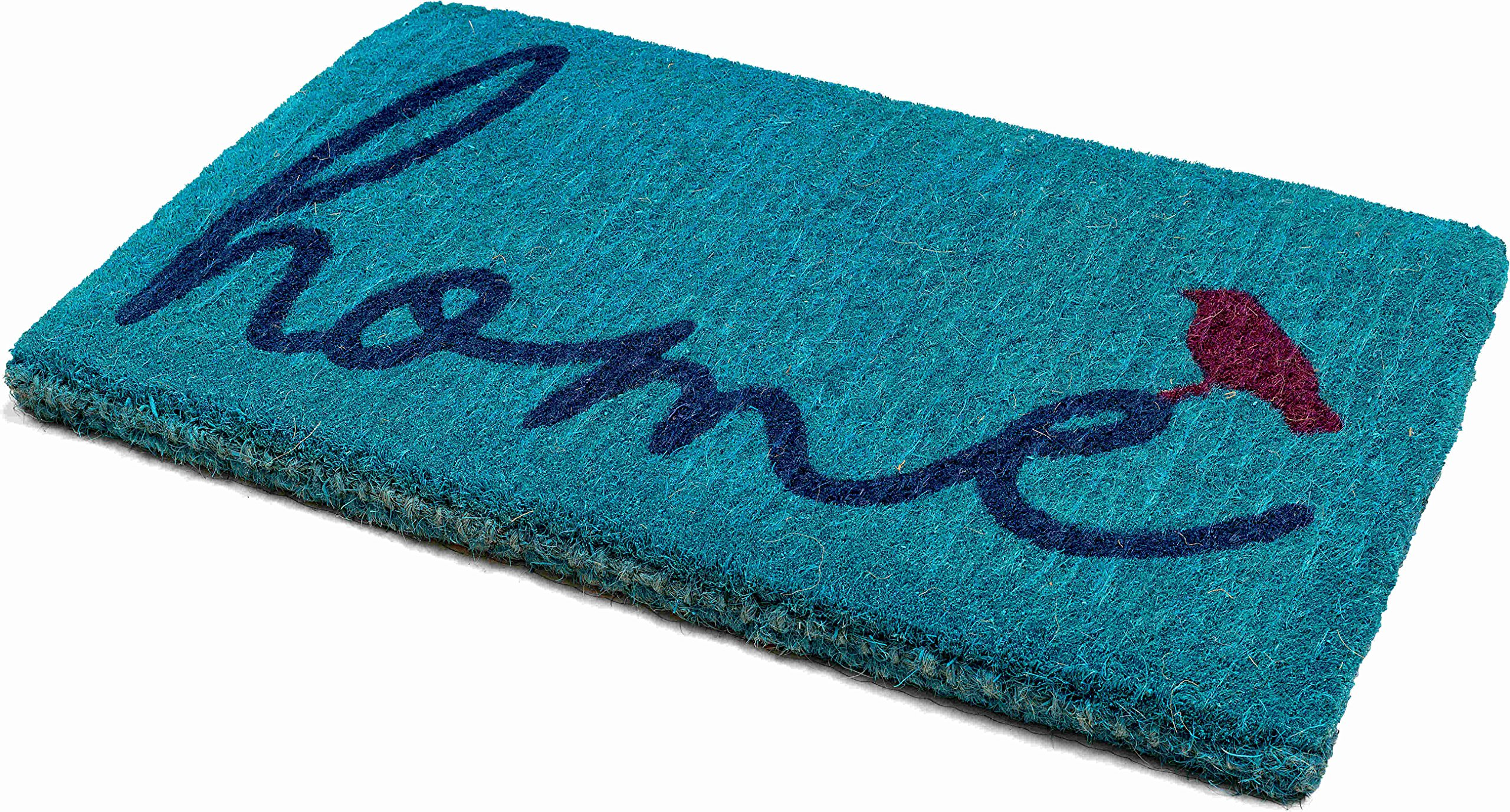 Handwoven, Extra Thick Doormat | Entryway Door mat For Patio, Front Door | Decorative All-Season | A Bird Perched on Home | 18'' x 30'' x 1.60''
