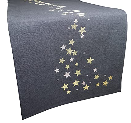 Christmas Table Runner Uk.Khevga Christmas Table Runner Modern Grey With Embroidery 40 X 140 Cm