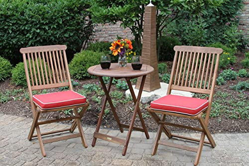 Outdoor Interiors Eucalyptus 3 Piece Round Bistro Outdoor Furniture Set – includes cushions