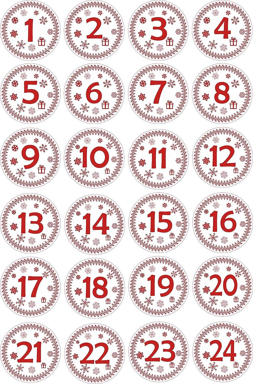 24 x Advent Stickers Kraft Wreath Calendar 4cm Diameter