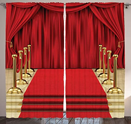 Ambesonne Digital Print Pub Decor Curtain Concert Theatre Stage Drapes  Bedroom Living Kids Youth Room Modern