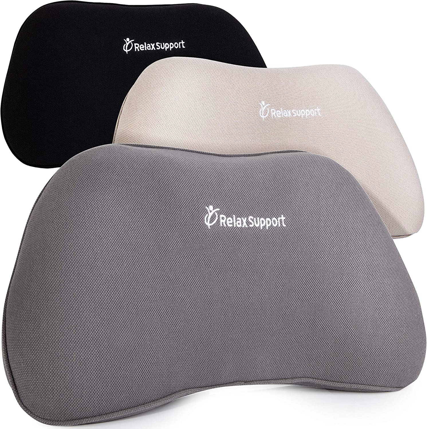 RS1 Back Support Pillow by Relax Support – Lumbar Pillow Upper and Lower Back for Chair Back Pain Uses ArcContour Special Patented Technology Has Unique Lateral Convex Shape for a Pain Free Back: Home & Kitchen