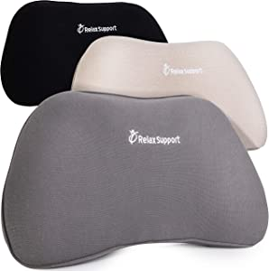 RS1 Back Support Pillow by RelaxSupport – Lumbar Pillow Upper and Lower Back for Chair Back Pain Uses ArcContour Special Patented Technology Has Unique Lateral Convex Shape for a Pain Free Back