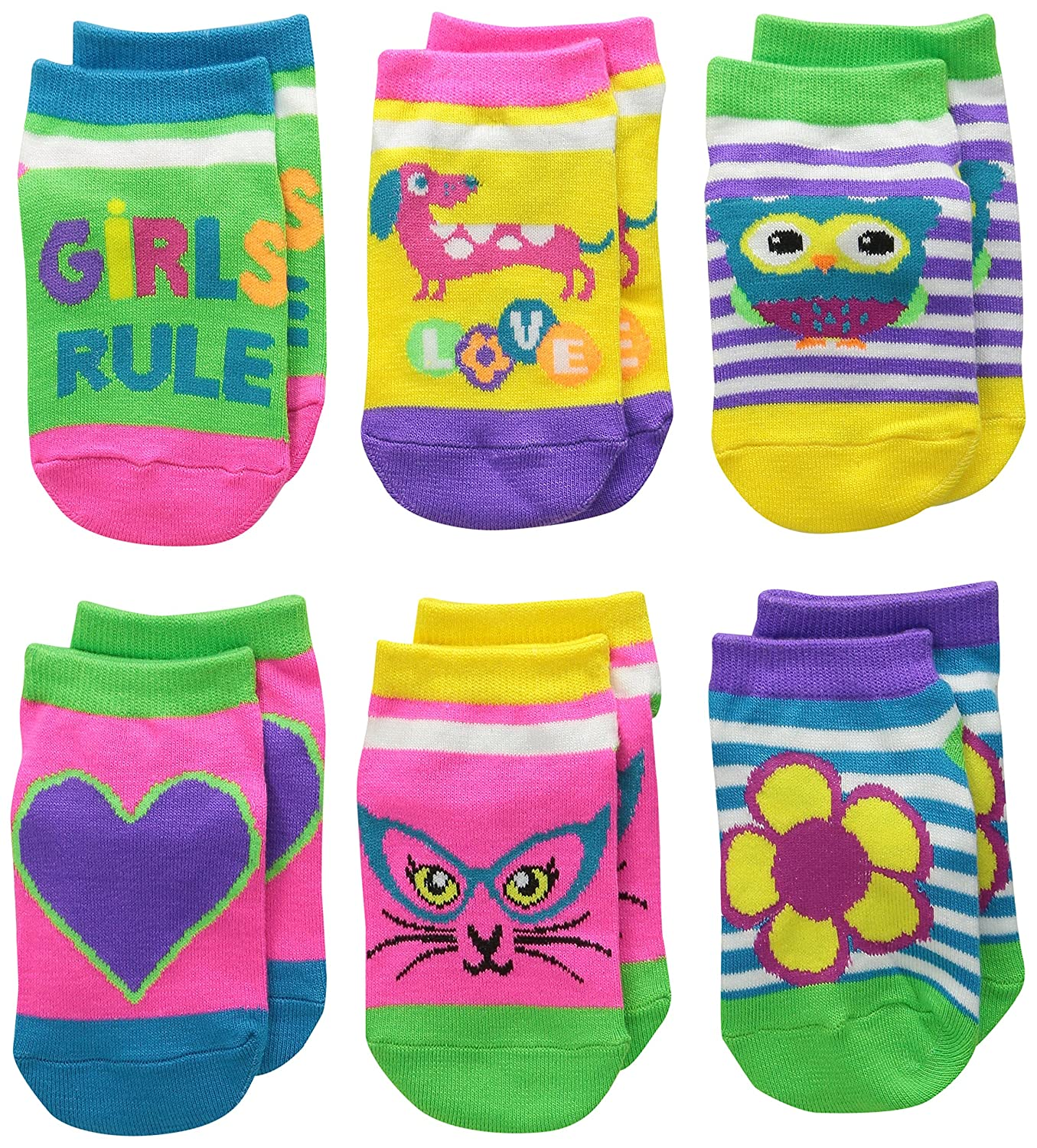 Jefferies Socks Big Girls' Girls Rule Neon Low Cut Socks(Pack of 6) Toddler Jefferies Socks Children's Apparel 2767