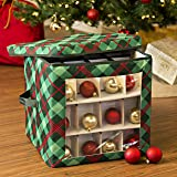 Honey-Can-Do SFT-07752 Plaid Ornament Storage Cube