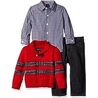 Nautica Conjunto de suéter con Cuello de Chal, Camisa de Manga Larga y Jeans Juego de Pantalones para Bebé-Niños