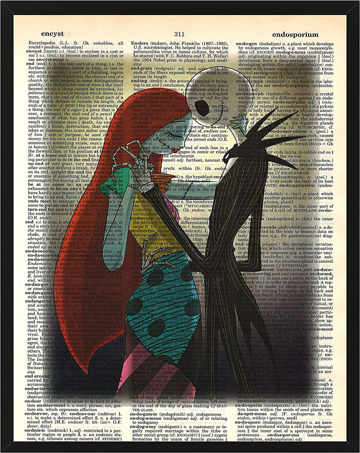 Jack and Sally in Love Wall Decor Jack Skellington from Nightmare Before Christmas Dictionary Art Print 8 x 10