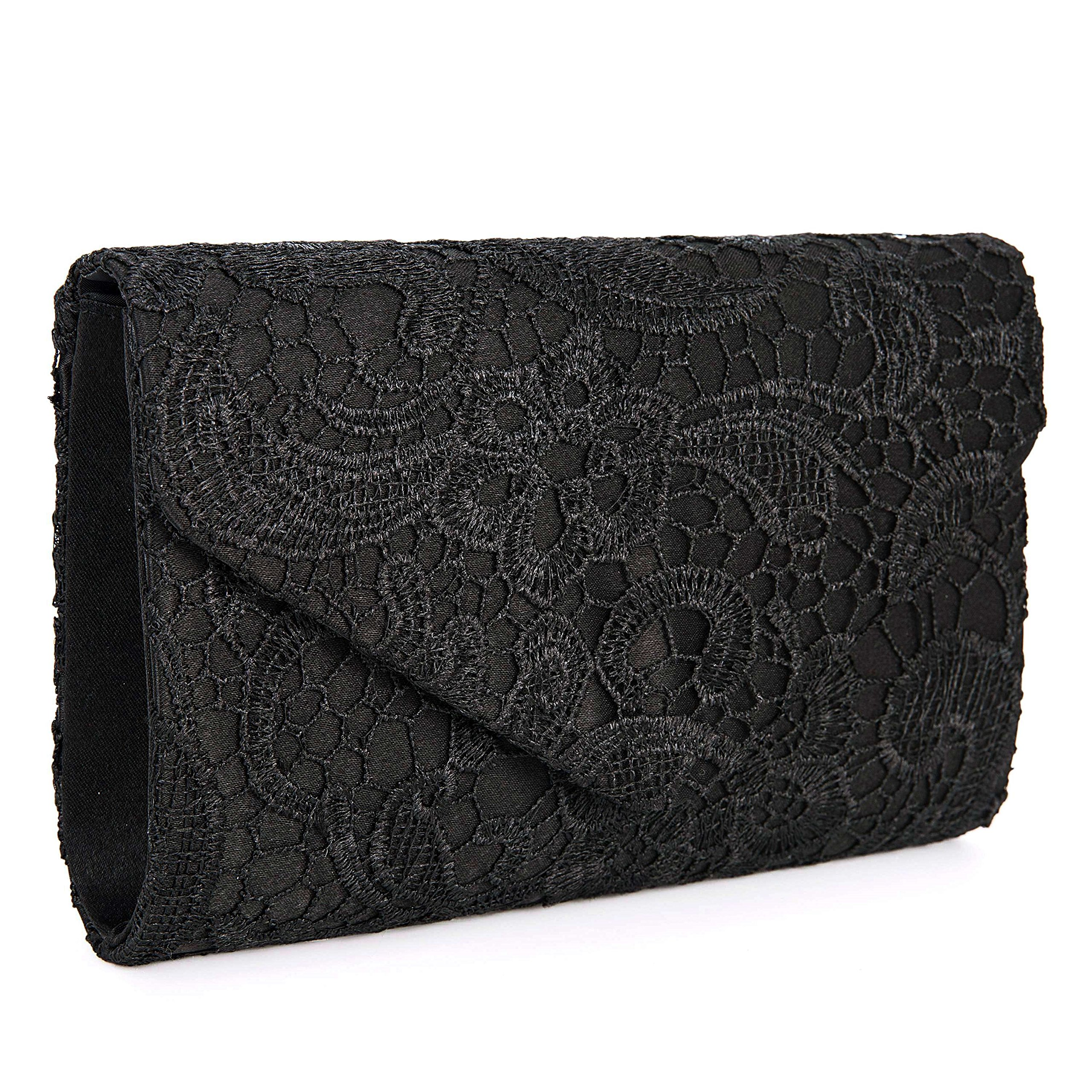 Baglamor Women's Elegant Floral Lace Envelope Clutch Evening Prom Handbag Purse(Black)