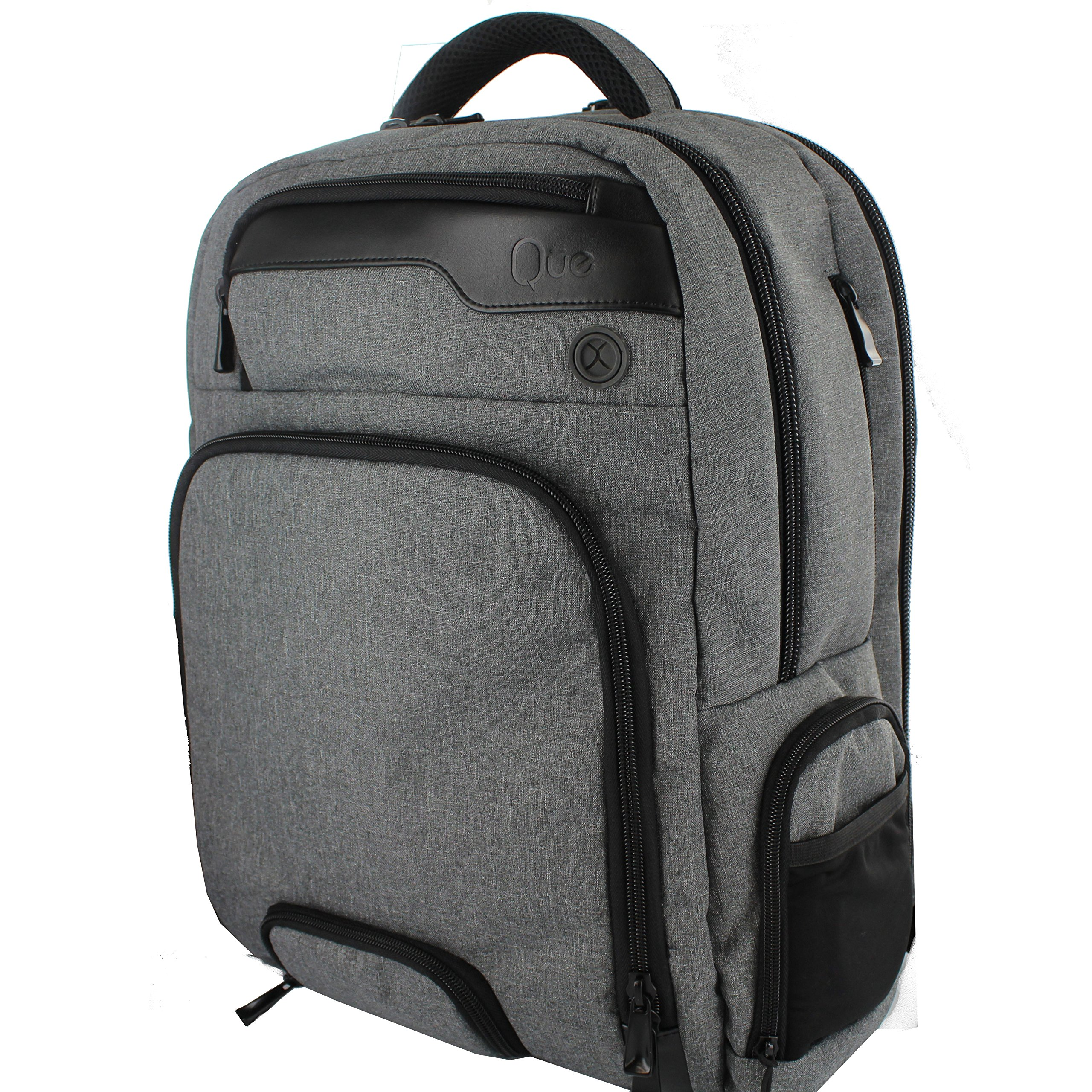 Jambag Powerbag Backpack by Que: Bluetooth Speakers, Charging Station, Protected Laptop Sleeve. Hidden Valuables Pocket. Perfect for Travel (Gray)