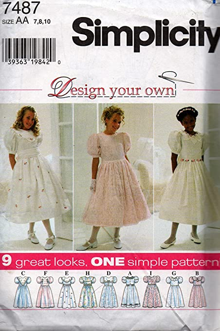 Simplicity 7487 Design Your Own Girls Dress Flower Girl First