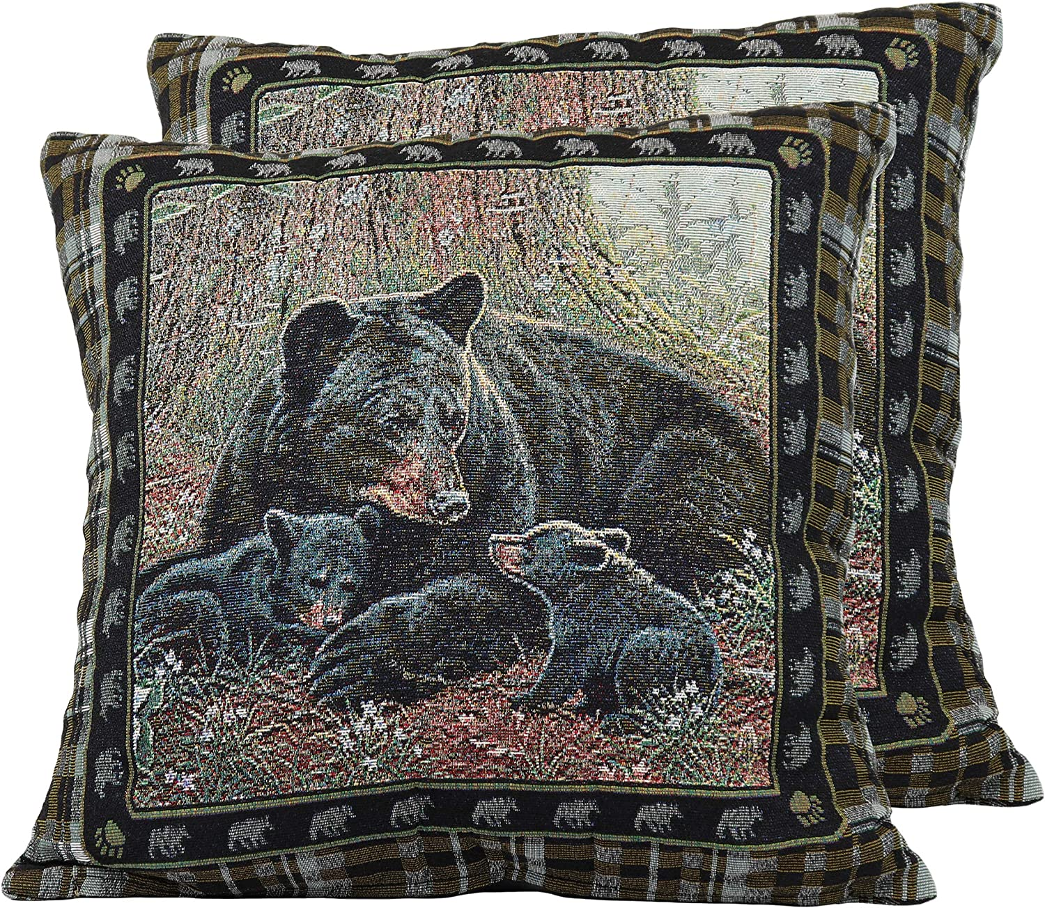 River s Edge Products Bear Tapestry Throw Pillows, Pair with Removable Covers, 18 by 18 Inch Square