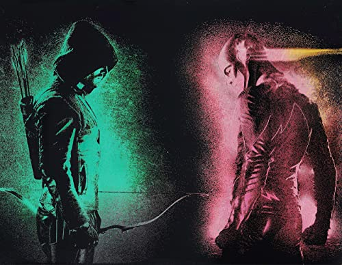 Green Arrow and Flash Painting on Metal Arrowverse CW DC Comics Justice League Spray Paint Art