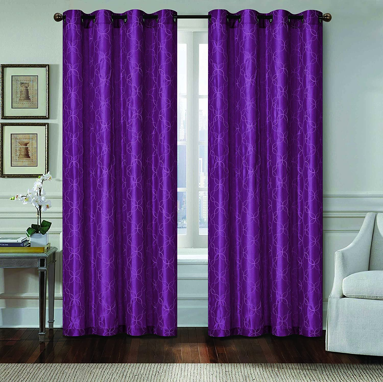 All American Collection New 1 Panel Geometric Design Faux Silk Embroidered Curtain With Grommets