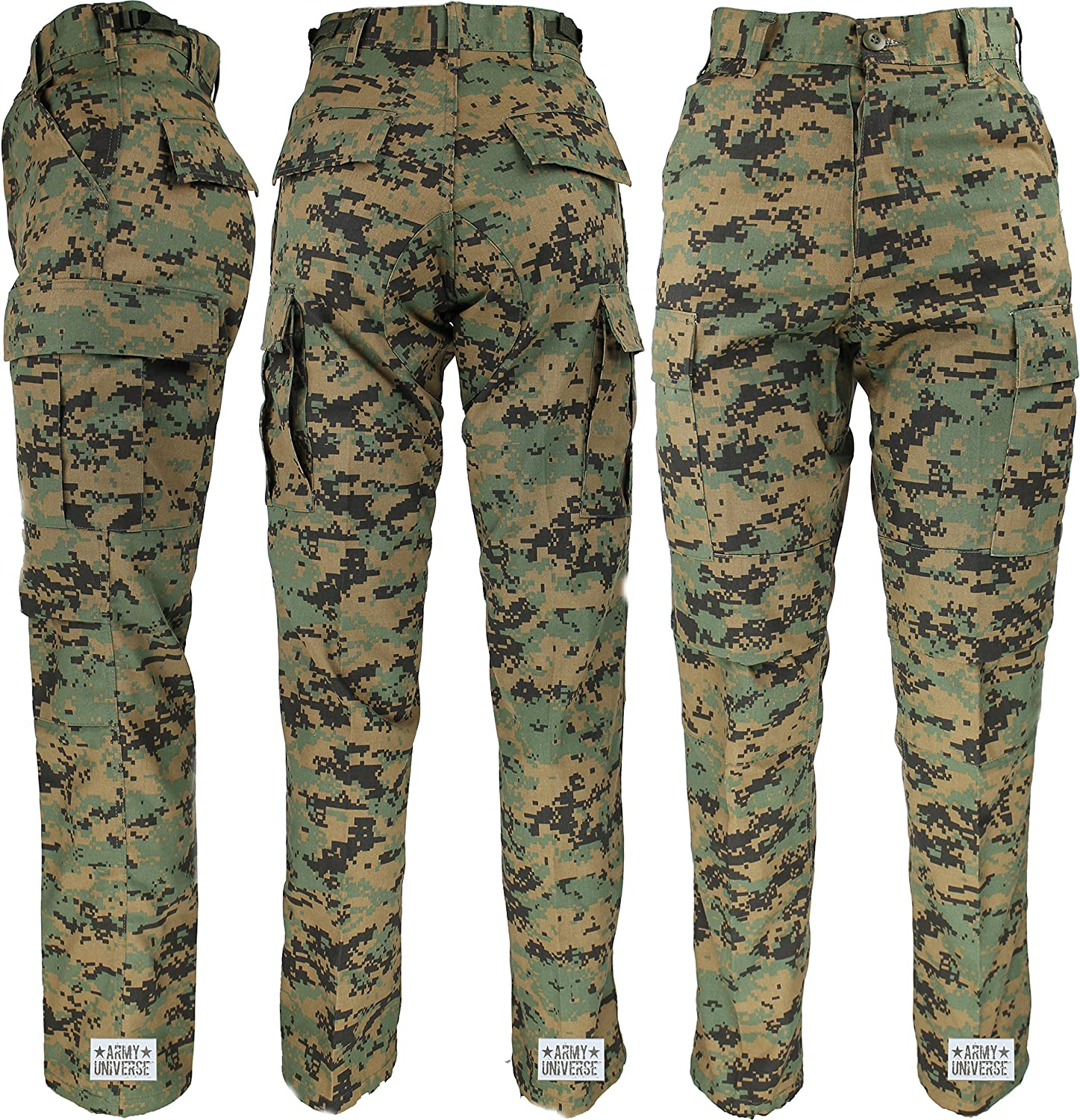 Amazon.com  Mens Woodland Digital Camo Poly Cotton Military BDU Army  Fatigues Cargo Pants with Pin  Clothing da00d54733f