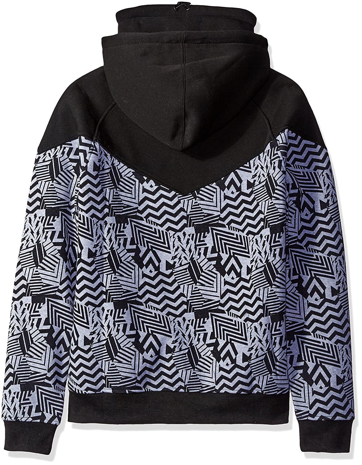 Southpole Mens Long Sleeve Fleece Hooded Ninja Neck Full Zip with Color Block All Over Prints