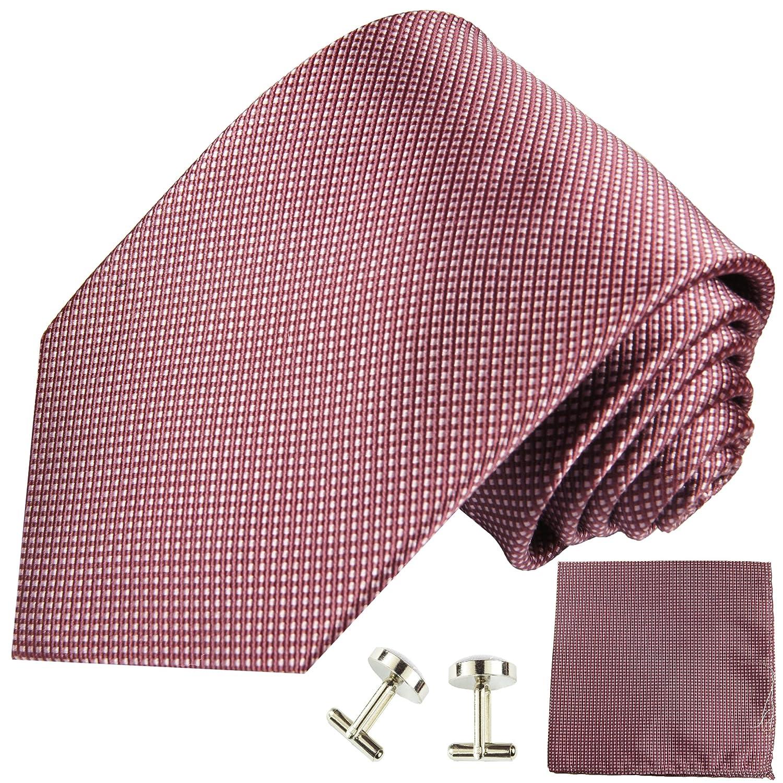 Paul Malone Krawatten Set 3tlg 100% Seide mauve (Normallänge, Extralang oder schmal) 950-3er