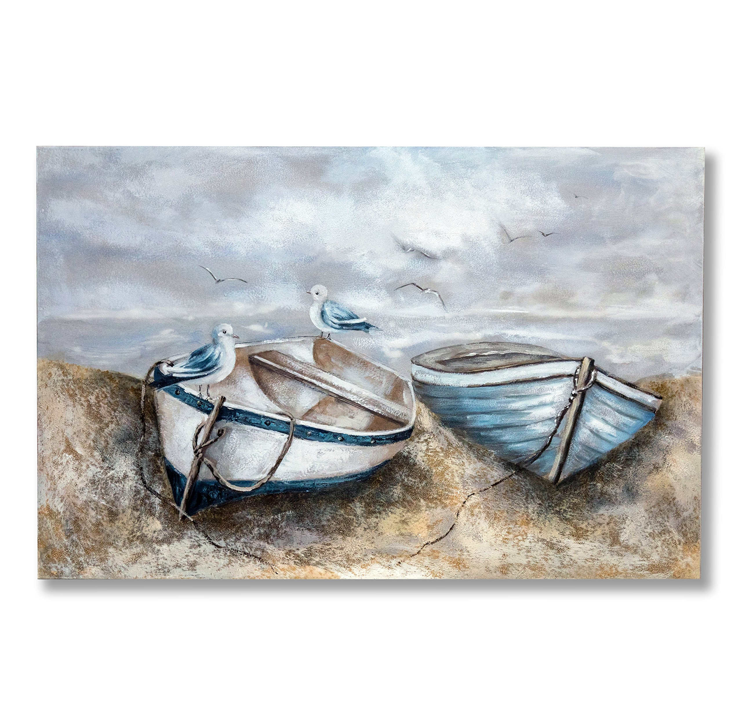 "In Liu Of Modern Oil Painting on Canvas ""Adrift on Land"" (Birds, Small Boats) Hand-Painted Fine Acrylic Wall Art 
