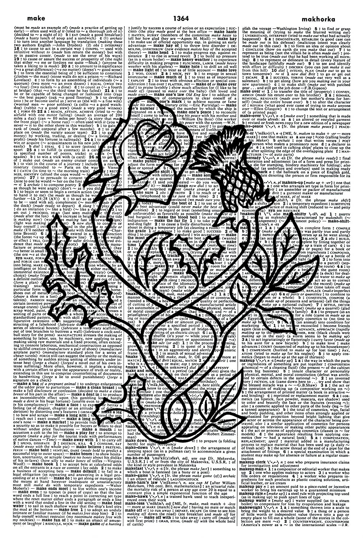 Rose & Thistle ART PRINT - Botanical ART PRINT - Vintage Art Print - Rose Illustration - Thistle Picture - Vintage Dictionary Art Print - Wall Hanging - Book Print - Plant Wall Art - GIFT 1036D