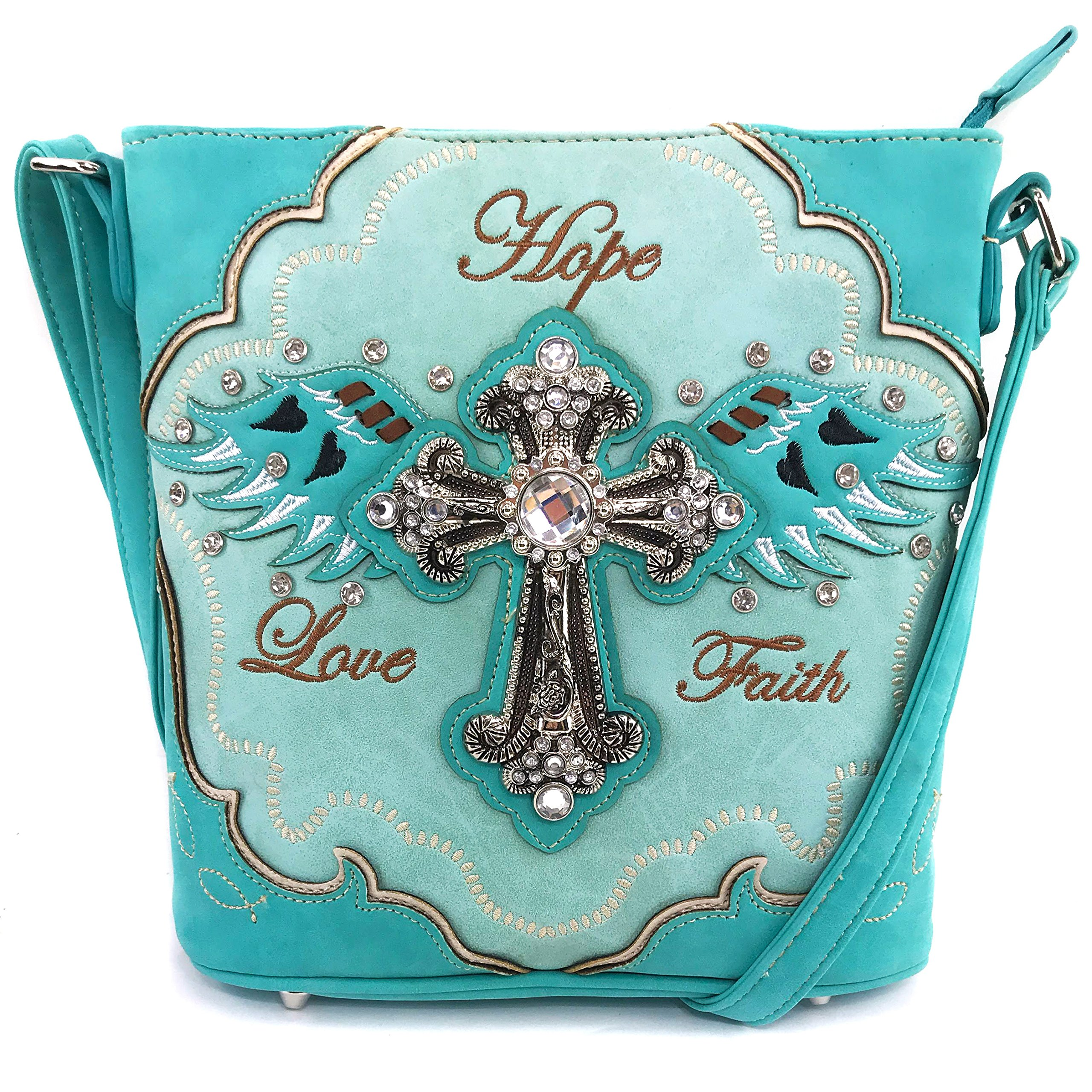 Justin West Cross Angel Wings Love Faith Hope Embroidery CCW Concealed Carry Shoulder Purse Messenger (Turquoise Messenger Only)