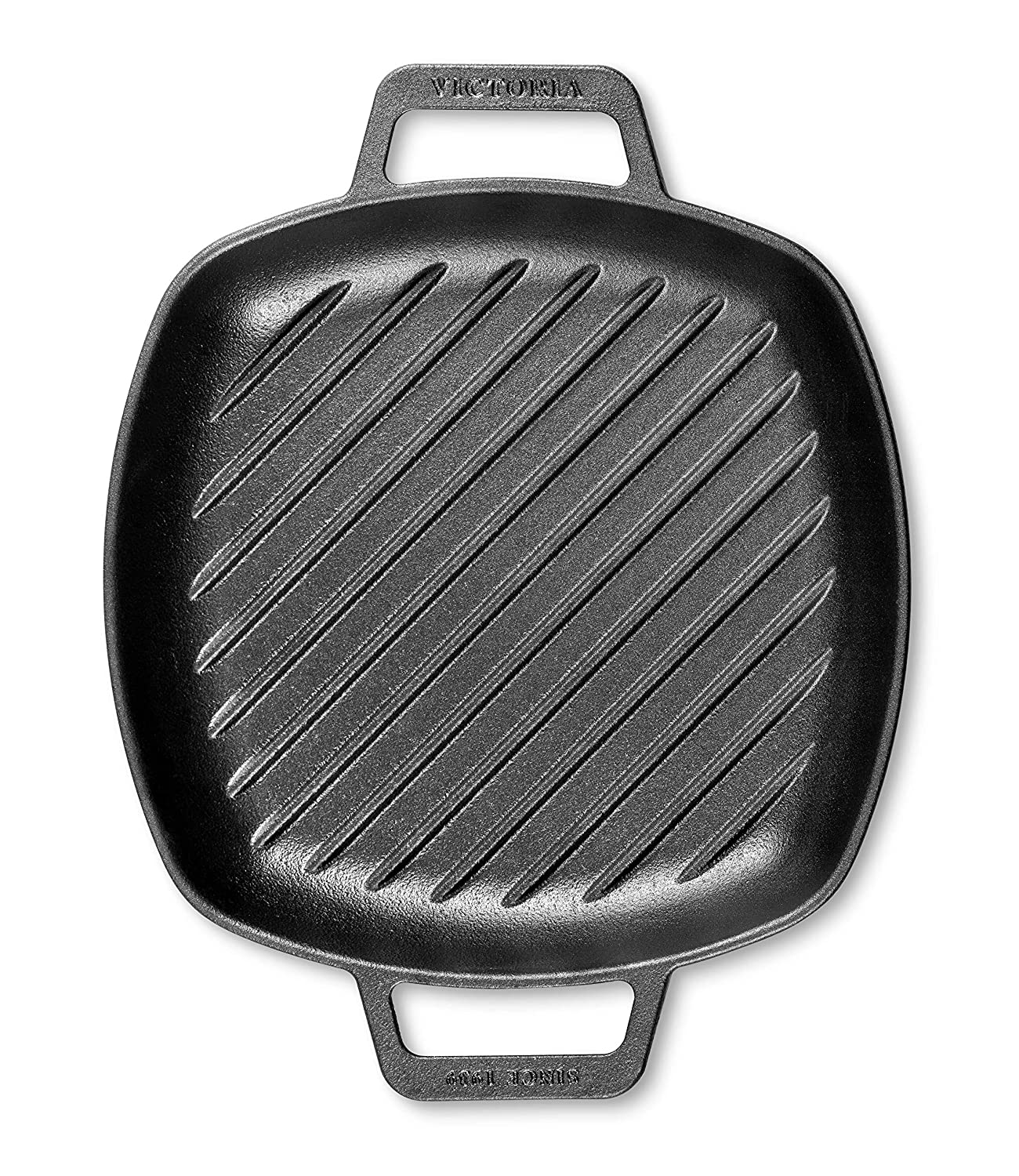 Victoria SKL-201 Cast Iron Square Grill Double Loop Handles, Griddle Pan Seasoned with 100 Kosher Certified Non-GMO Flaxseed Oil, 10 x 10 Inch, Black