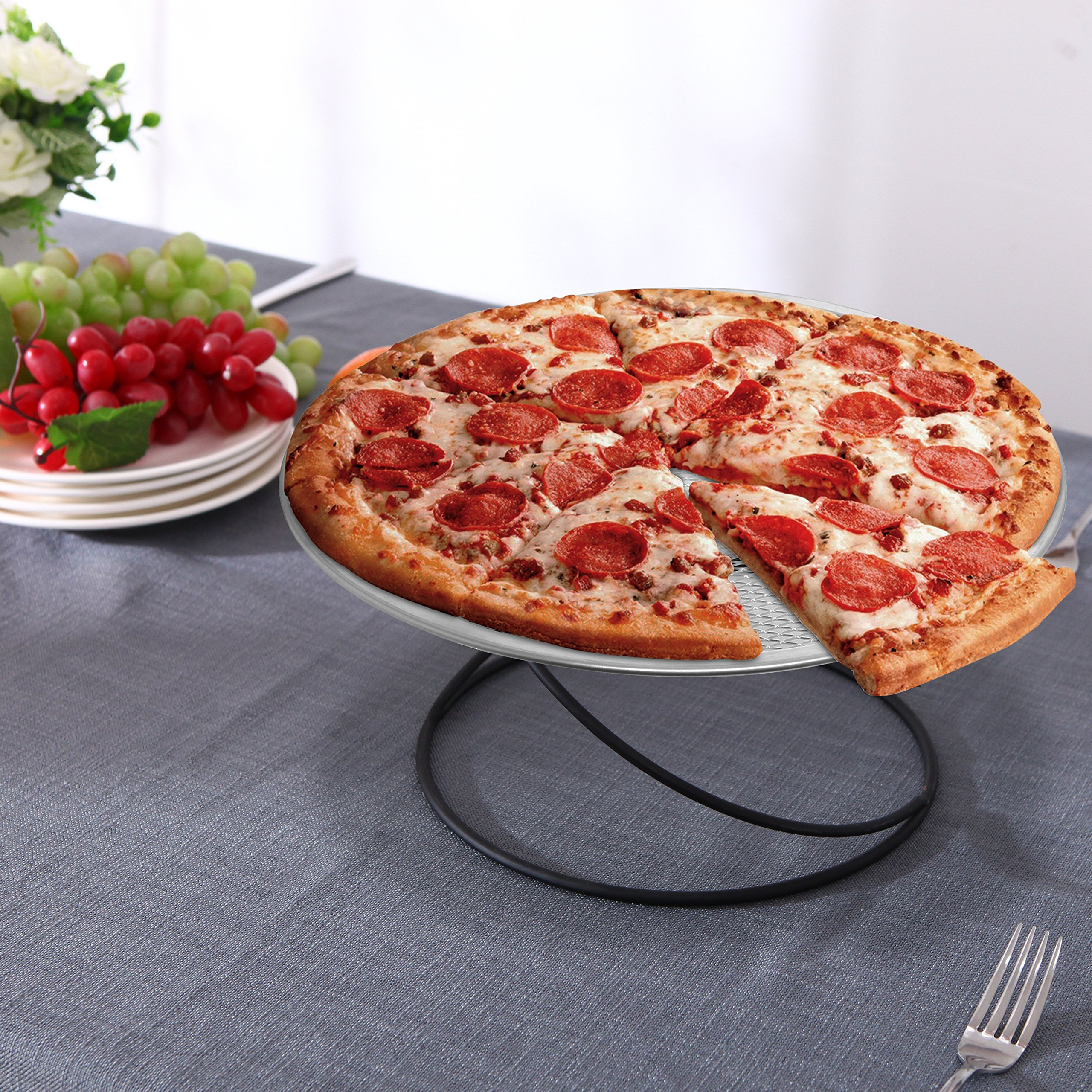 MyGift Set of 4 Metal Spiral Wire Tabletop Pizza Tray Stands, Black by MyGift (Image #3)