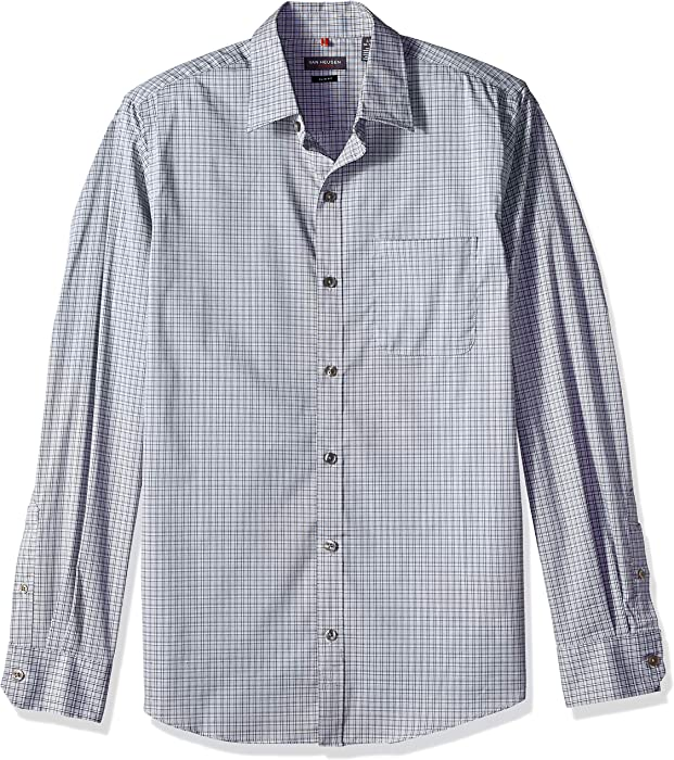 Van Heusen Mens Slim Fit Traveler Stretch Long Sleeve Button Down Blue//White//Purple Shirt
