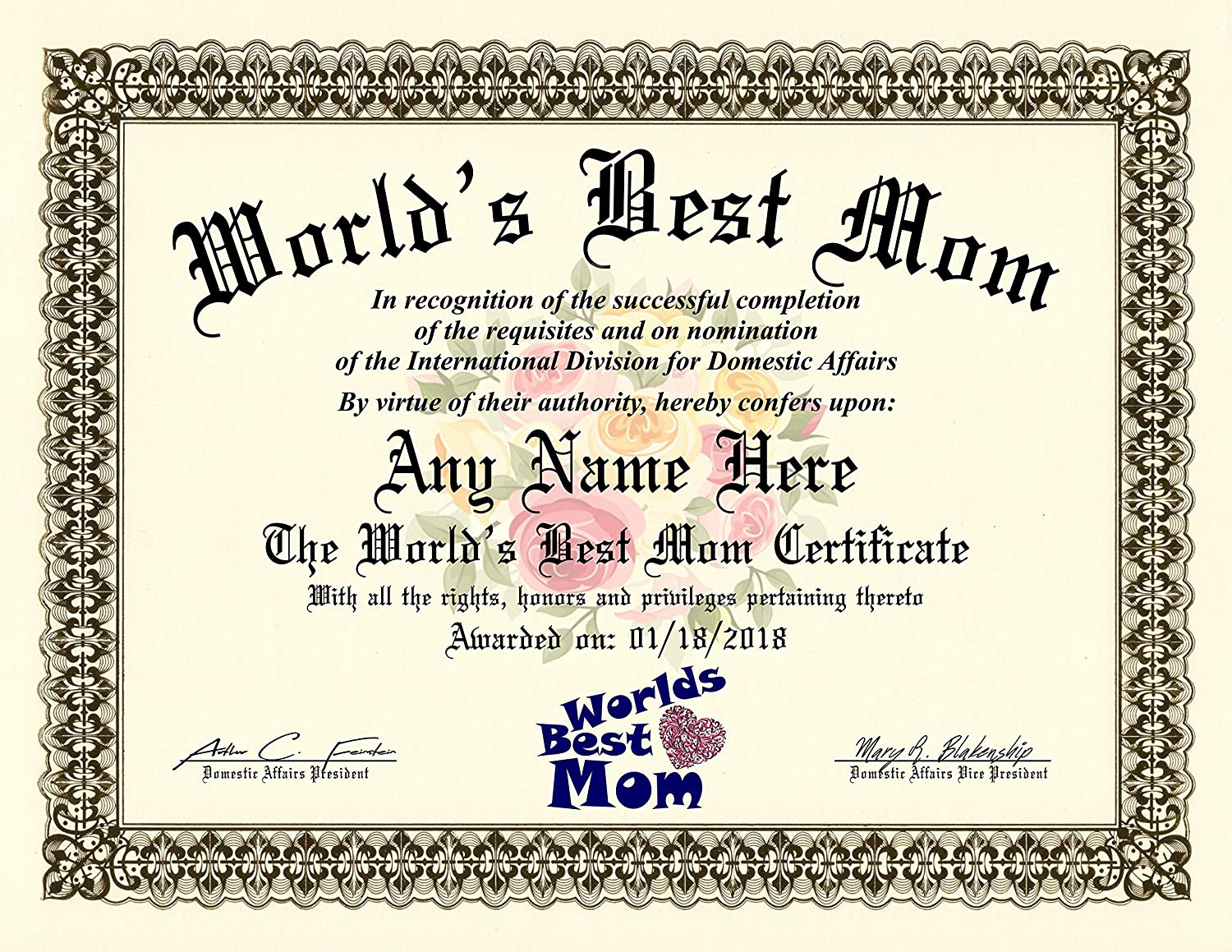 Amazon Worlds Best Mom Certificate Award Custom Printed By