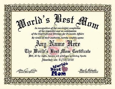 amazon com worlds best mom certificate award custom printed by