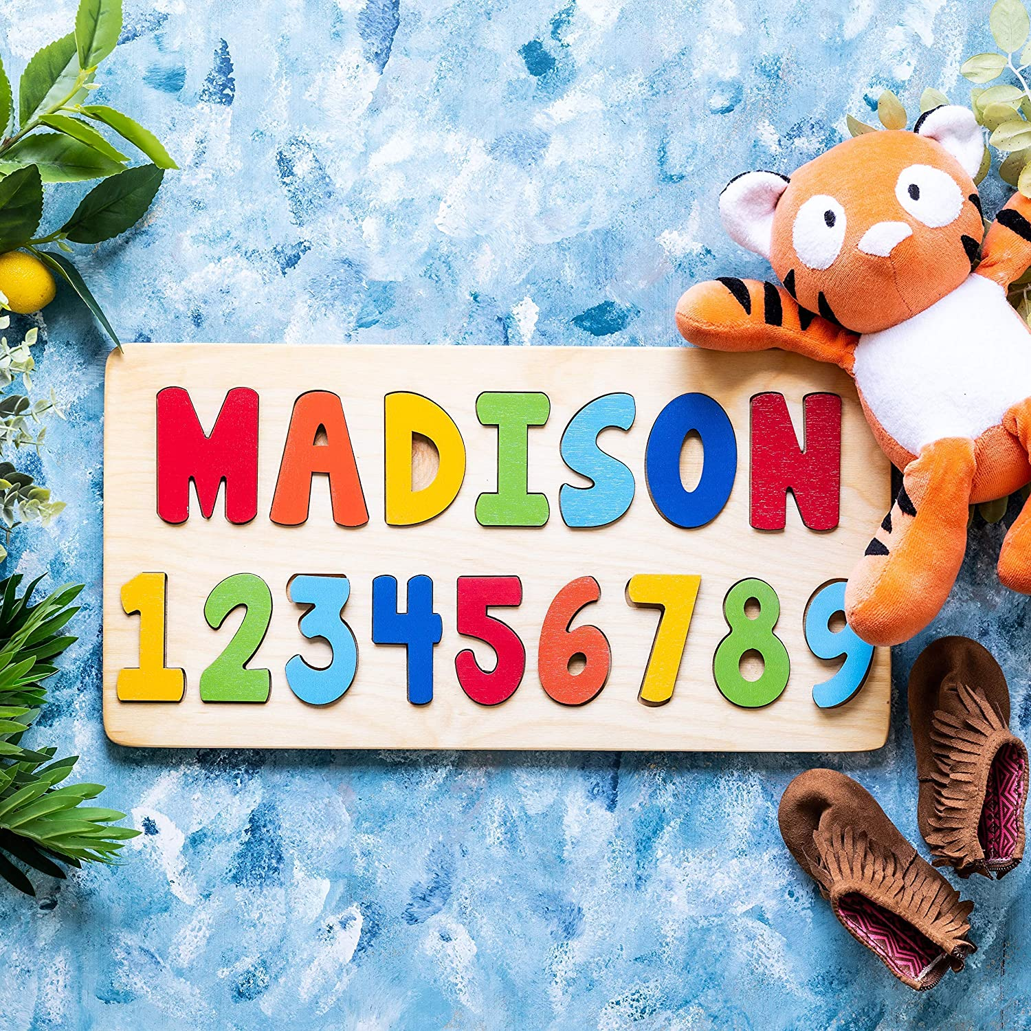 BloomOwl Numbers Puzzles Name with Numbers Wooden Name Puzzle