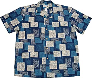 product image for Paradise Found Waimea Casuals Mens Monstera Shirt Navy Blue 4X