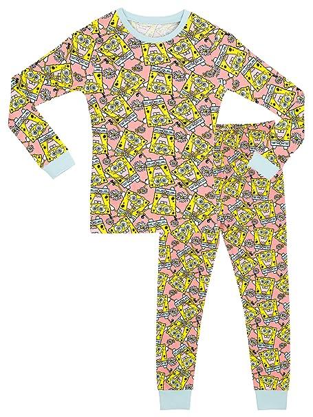 a21f386eb9 SpongeBob - Pijama para niñas - Bob Esponja - Ajuste Ceñido - 11 a 12 Años   Amazon.es  Ropa y accesorios