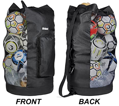 Fitdom Heavy Duty XL Soccer Mesh Equipment Ball Bag w Adjustable Shoulder  Strap Design for Coach. with an Over-Sized Front Pocket for Sporting  Accessories. 57ce78da7
