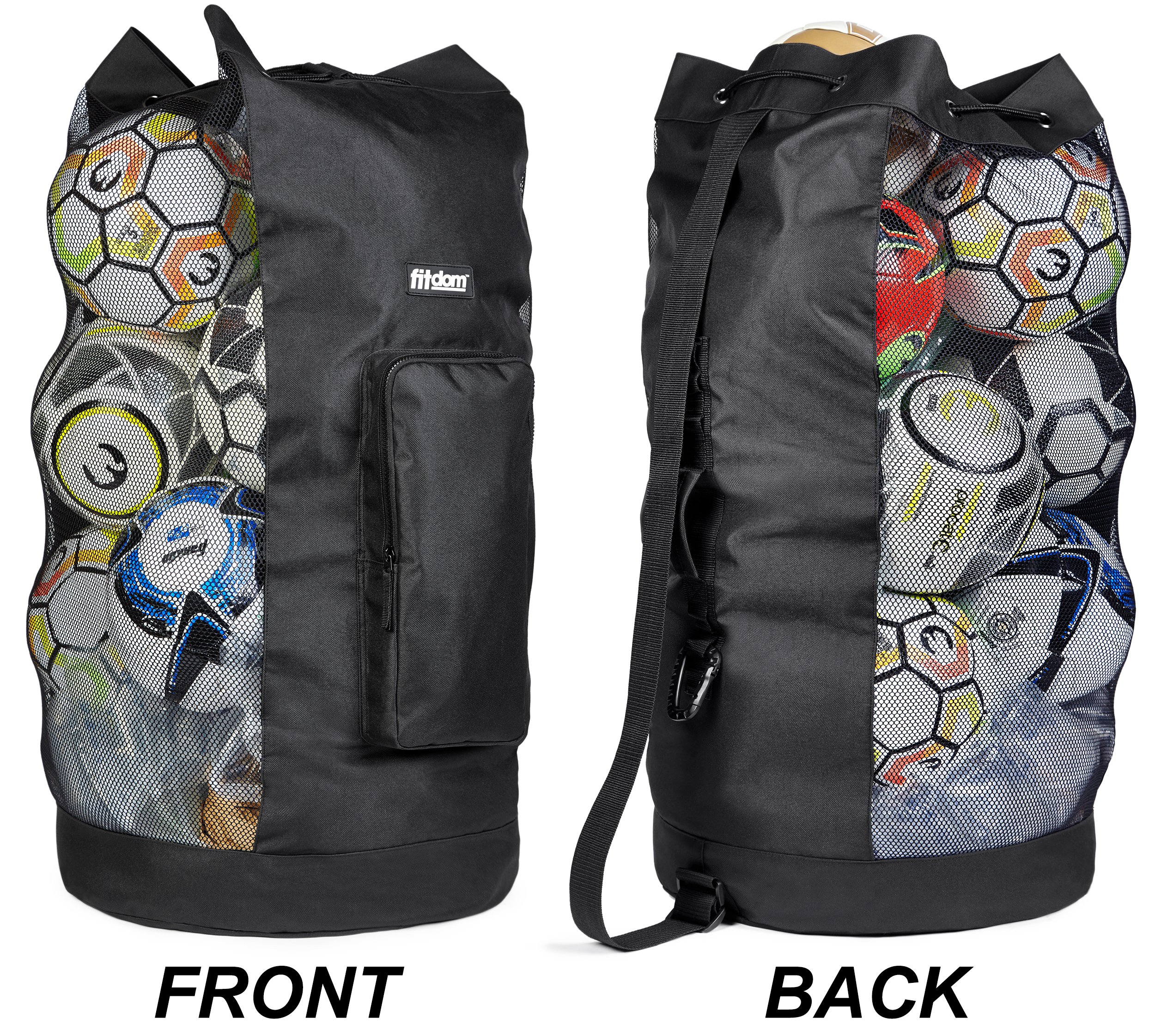 Fitdom Heavy Duty XL Soccer Mesh Equipment Ball Bag w Adjustable Shoulder  Strap Design for 7f998e349